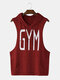Men Hooded Gym Print Workout Training Tank Tops - Red