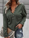 Solid Long Sleeve V-neck Pocket Women Loose Sweater - Army Green