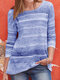 Colorful Striped O-neck Long Sleeve Casual Blouse - Purple