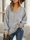 Solid Color V-neck Loose Long Sleeve Sweatshirt For Women - Gray
