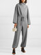 Solid Color Plain Knitted Drawstring Long Sleeve Casual Jumpsuit for Women - Light gray