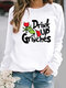 Solid Color Letters Print Long Sleeve Casual Sweatshirt - White