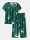 Plus Size Women Floral Print Pleated Short Sleeve Comfy Pajama Sets - Green