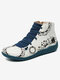 Christmas Pattern Comfort Splicing Zipper Ankle Casual Boots For Women - #01