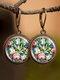 Vintage Glass Gemstone Dangle Earrings plant Flower Pattern Women Pendant Earrings Jewelry - #10