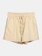 Women Pure Cotton Linen Drawstring Shorts With Pockets Breathable Outdoors Home Loungewear Bottoms - Khaki