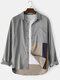 Mens Cotton Patchwork Daily Loose Long Sleeve Shirts With Pocket - Gray