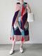 Geometry Stripe O-neck Pocket Sleeveless Women Print Dress - Purple
