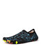 SOCOFY Quick-drying Stretch Cloth Comfy Breathable Drainage Water Shoes Upstream Shoes Swimming Diving Slip On Socks Sneakers - Black Blue