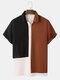 Herren Tricolor Strick Revers Kurzarm Hemd mit normalem Saum - Weiß