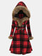Plaid Button Fleece Fax Fur Hooded Coat - Red