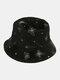 महिलाओं की कढ़ाई तितली पैटर्न प्रिंट आरामदायक Soft आउटडोर यात्रा बाल्टी टोपी - काली