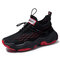 Men Cushioning Lightweight Knitted Fabric Lace Up Sport Casual Sneakers - Black 2