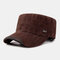Men's Solid Color Letter Print Flat Hat Military Hat - Coffee