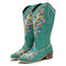 Women Leather Retro Floral Printing Wearable Comfy Slip On Chunky Heel Mid-calf Cowboy Boots - Green