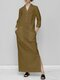 Solid Color Splited Long Sleeve Casual Maxi Dress For Women - Khaki