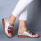 Large Size Women Comfy Retro Stitching Splicing Hollow Wedges Sandals - #03