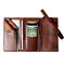 Men Trifold Long Wallet Card Holder Clutch Bag - Brown