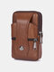 Durable Flap Magnetic Button Design Wearable Breathable Tasteless Belt Bag 6.5 Inch Phone Bag Wallet - Coffee