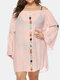 Embroidery Crochet Hollow Out Plus Size Beaches Holiday Blouse Dress - Pink