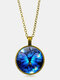 Vintage Blue Butterfly Women Necklace Alloy Glass Printing Pendant Sweater Chain - Bronze