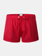 Solid Color Waterproof Quick Dry Drawstring Sports Beach Board Shorts With Pocket - Red