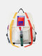 Men Women Patchwork Large Capacity  Streamer Package Tooling Backpack - White