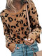 Leopard Print Long Sleeves O-neck Casual Pullover Knitted Sweater For Women - Brown