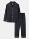 Mens Solid Button Up 100% Cotton Contrast Binding Loungewear Sets - Navy