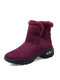 Women Snow Boots Casual Suede Warm Short Calf Cotton Boots - Red