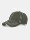 Men Washed Cotton Plain Color Baseball Cap Outdoor Sunshade Adjustable Hat - Green