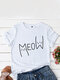Cartoon Cat Printed Short Sleeve O-neck  Casual T-shirt for Women - White