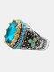 ヴィンテージ象眼細工ダイヤモンド男性リング2色ターコイズ女性リングジュエリーギフト - 銀