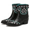 SOCOFY Folkways Stars Pattern Pointed Toe Chunky Heel Casual Short Boots - Black