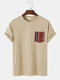 Mens Solid Color Short Sleeve T-Shirt With Ethnic Pattern Pockets - Apricot