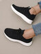 Large Size Women Solid Color Hollow-out Mesh Runing Shoes - Black