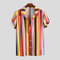 Mens Hit Color Striped Printed Turn Down Collar Short Sleeve Shirts - Red