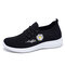 Stylish Flower Low-top Breathable-Mesh Lace-up Walking Sneakers for Women - Black