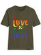 Multi-color Letter Print Short Sleeve Casual T-shirt For Women - Army Green