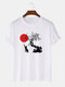 Mens Cat & Red Sun Print Japanese Style 100% Cotton Short Sleeve T-Shirts - White