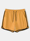 Plain Swim Shorts with Pockets Drawstring Loose Recycled Jogging Pants for Men - Yellow