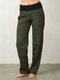 High Waist Pockets Plus Size Casual Pants for Women - Army