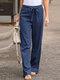 Elastic Waist Bowknot Straight Vintage Plus Size Pants - Blue