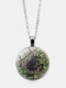 Vintage Glass Printed Women Necklace Black Cat Divination Pendant Sweater Chain Jewelry Gift - Silver