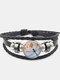 Vintage Dragonfly Calico Pattern Geometric-shape Hand-braided Beaded Glass PU Alloy Multi-layer Bracelet - #02