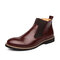 Men Classic Brogue Chelsea Boots Business Casual Dress Boots - Red