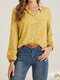 Stand Collar Long Sleeve Floral Print Button Women Casual Blouse - Yellow