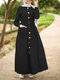 Solid Color Lantern Sleeve Knotted Plus Size Button Dress with Pockets - Black