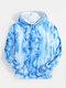 Mens Tie-Dye Butterfly Print Casual Loose Hoodie With Kangaroo Pocket - Blue