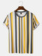 Mens Contrast Stripe Crew Neck Preppy Short Sleeve Breathable T-Shirts - Yellow
